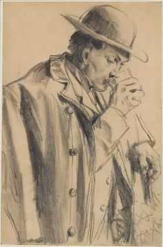 Adolph Menzel (Breslau 1815 - Berlin 1905) A Man Drinking Graphite (carpenter's pencil), with stumping.226 x 185 mm. (8 7/8 x 5 7/8 in.)
