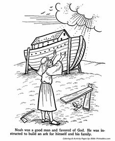 Noah and the Ark Bible Story Coloring Page