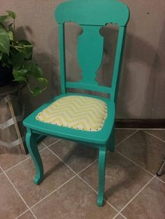 Turquoise And Yellow Chevron Chair