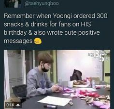 I remember that he drew cartoon of himself along with his hand written message. Such a sweetheart Yoongi