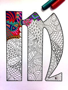8.5x11 PDF coloring page of the uppercase letter M - inspired by the font Deutsch Gothic  Fun for all ages.  Relieve stress, or just relax and have fun using your favorite colored pencils, pens, watercolors, paint, pastels, or crayons.  Print on card-stock paper or other thick paper (recommended).  Original art by Devyn Brewer (DJPenscript).  For personal use only. Please do not reproduce or sell this item.  HOW TO DOWNLOAD YOUR DIGITAL FILES: https://www.etsy.com/help/art...