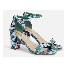 Justfab Heeled Sandals Vivica ($40) ❤ liked on Polyvore featuring shoes, sandals, green floral, platform sandals, block heel platform sandals, wide width platform sandals, green sandals and justfab shoes
