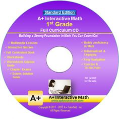 """A+ Math"" 1st Grade Math Curriculum Software - Standard Edition (Teaches with Video Lessons, Interactive Review, Practice Problems and more...)"