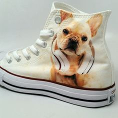 Custom Converse French Bulldog.  Someone sent us a pic of this awesome Frenchie and we put it on Chucks for them. Grab a pair with your Frenchie on them!