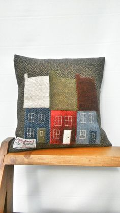 Hand made brown herringbone Harris Tweed pillow. Three small houses were hand drawn, cut out of Harris Tweed and embroidered on the pillow. This pillow will fit 12 by 12 inches of filler (filler is not included). Applique Cushions, Cute Cushions, Patchwork Cushion, Embroidered Cushions, Sewing Pillows, Wool Pillows, Burlap Pillows, Harris Tweed, Cushion Covers