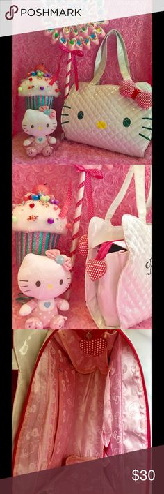 🦄Adorable quilted Hello Kitty Tote Bag🍭 White quilted bag with a puffy pink and white polka dot 🎀bow! Hello kitty charm on zipper. Hello Kitty logo on back of bag. Pink satiny material inside with lots of space. 👛A few minor pen marks but in good condition! 🦄🌈 Hello Kitty Bags Totes