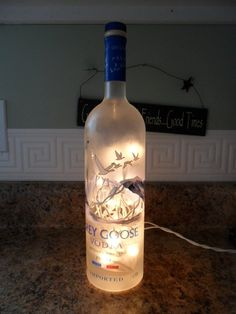 Items similar to Bottle With Lights - Grey Goose - Great Bar Decor on Etsy Christmas Is Coming, Best Christmas Gifts, Christmas Traditions, Beer Decorations, Christmas Clearance, Grey Goose, Grey Art, Mood Light, Bottle Lights