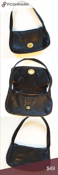 Vintage Coach Hobo purse, black leather Class coach hobo, beautiful leather in near perfect t condition. Classic brass clasp, 2 inside pockets with third zipper pocket and key ring. Back has more storage as seen in photo. Coach Bags Hobos