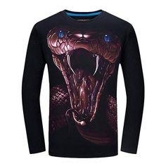 21716865 2017 Brand 3d T Shirt Men Funny t shirts Wolf Printed Long Sleeve Slim Fit O