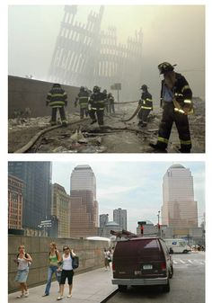 Photos: 9/11 Then and Now / Skeletal exterior walls of the World Trade Center stand like crooked gravestones (top) as firefighters work in the aftermath of New York's 9/11 terrorist attacks.  On the same street on June 19, 2006, pedestrians have a clearer view of ground zero and its future. By 2013 the 1,776-foot (541-meter) Freedom Tower is to be flanked by three smaller skyscrapers, arrayed in a descending semicircle.