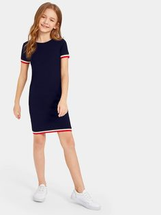 To find out about the Girls Striped Tape Bodycon Dress at SHEIN, part of our latest Girls Dresses ready to shop online today! Teenage Girl Outfits, Kids Outfits Girls, Cute Girl Outfits, Girls Fashion Clothes, Tween Fashion, Teen Fashion Outfits, Cute Casual Outfits, Girl Fashion, Girls Dresses