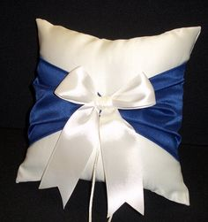 Use coupon  PINITFREESHIP for FREE shipping! Royal Blue Accent  White or Ivory Wedding Ring Bearer Pillow by Jessicasdaydream