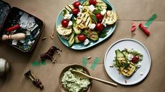 Chargrilled vegetables with zucchini hummus, pine nuts and mint