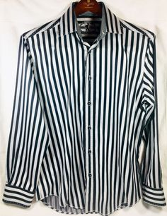 b01edb52 Bugatchi Men's Shaped Fit Black Silver/Gray Stripe L/S Button Up Shirt Sz L
