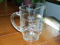 Vintage Star of David Pressed Poured Glass Handled Juice Pitcher Milk Creamer  $10.00 H
