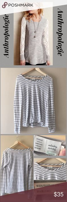 """Anthropologie Saturday Sunday striped top S Anthropologie Saturday Sunday gray & white horizontal striped scoop neck long sleeve top. Picture one is stock to show fit. Perfect condition, only a bit wrinkled. 90% cotton & 10% polyester, front seams break up lined for slimming. Super cute and soft. Runs bigger, 16"""" flat bust, 25"""" sleeve, 23.5"""" in front & 26"""" long back💖 Anthropologie Tops"""