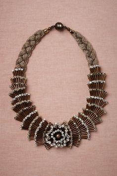 """Fountain"":  Brass, lurex covered brass, Swarovski crystals, glass pearls. Handmade in Italy"