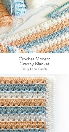 Daisy Farm Crafts - - This is a free pattern for a crochet modern granny blanket. As I made this crochet modern granny blanket, I felt like I was creating a series of triangles nestled in between each other which to me, gave the blanket a modern feel. Crochet Afghans, Motifs Afghans, Afghan Crochet Patterns, Baby Blanket Crochet, Crochet Baby, Knitting Patterns, Knitting Ideas, Sewing Patterns, Modern Crochet Blanket