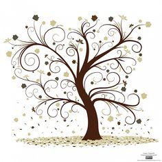 line art drawings of trees | Free Vector Curly Tree Design.