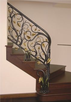 A glorious hand-forged wrought iron railing features a design of swirling branches, accented with gilded leaves. Description from pinterest.com. I searched for this on bing.com/images