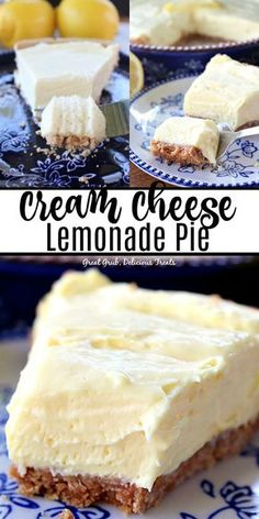 Cream Cheese Lemonade Pie is super lemony, tart and is a delicious lemony, no bake dessert. This is definitely a refreshing lemon pie perfect for the summer season. no bake desserts Cream Cheese Lemonade Pie Köstliche Desserts, Lemon Desserts, Lemon Recipes, Cream Cheese Desserts, Recipes With Cream Cheese, Easy No Bake Desserts, Cream Cheeses, Cream Cheese Lemonade Pie, Flavored Lemonade