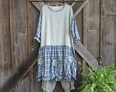 linen dress tunic Romance in blue plaid and natural flax ready to ship
