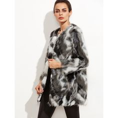 SheIn(sheinside) Multicolor Faux Fur Collarless Coat (85 BAM) ❤ liked on Polyvore featuring outerwear, coats, short faux fur coat, white coat, color block coat, short coat and multi colored coat