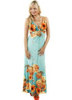 Green Sun Flower Print V-Neck Maxi Dress