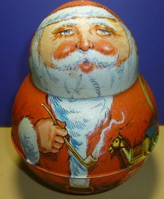 Vintage Bristol Ware Roly Poly Santa Tin by thecollectiblechest. Got these for my 2 kids in the 80' s. Love them !