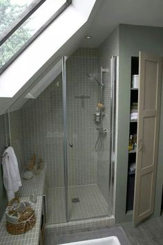 Attic Bathroom Ideas 6 - New house Loft Conversion - Attic Shower, Small Attic Bathroom, Loft Bathroom, Upstairs Bathrooms, Bathroom Renos, Bathroom Interior, Bathroom Ideas, Sloped Ceiling Bathroom, Loft Ensuite