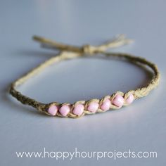 diy wish hemp & bead bracelet tutorial Love it! Must try! #ecrafty