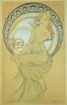 Alphonse Mucha (Czech, 1860 - 1939). The Arts: The Study of Painting, 1898. Pencil & Watercolor, 56 x 34.8 cm. Mucha Museum, Prague.