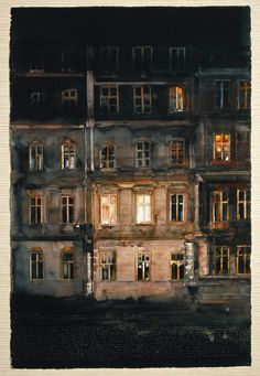 Looking through night windows - The Sandgrund Lars Lerin art gallery, Sweden Watercolor Architecture, Watercolor Landscape, Watercolor Paintings, Watercolours, Nocturne, Photo Illustration, Illustrations, Traditional Art, Painting & Drawing