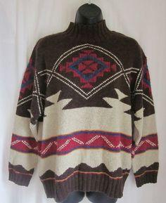 LAUREN RALPH LAUREN Aztec Southwest Hand Knit Linen Blend Sweater L Large #LaurenRalphLauren #TurtleneckMock