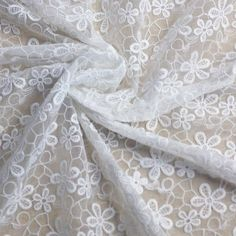 white embroidered fabric | White Polyester Embroidered Organza Lace Fabric 1 meter ,Wide 44 ...