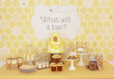 "Unknown sex baby shower - ""What will it bee?""! AH LOVE THIS Since its tradition in my family not to find out the sex of the baby!!!"