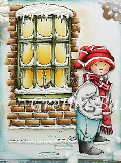 Christmas Scenes, Christmas And New Year, Mo Manning, Wild Honey, Window Cards, Christmas Characters, Broken China, Walnut Stain, Scarf Hat