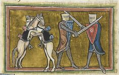 Detail of a miniature of two horses and two men, from the Rochester Bestiary, England (Rochester?), c. 1230, Royal MS 12 F XIII, f. 42v - See more at: http://britishlibrary.typepad.co.uk/digitisedmanuscripts/2014/04/my-kingdom-for-a-horse.html#sthash.nA11RuIX.dpuf