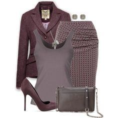 """Plum/Eggplant for Work"" by kswirsding on Polyvore"