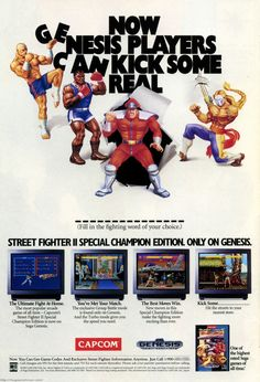 Now Genesis Players Can Kick Some Real _ _ _ _ _ _ _ _ _ _ _ (Fill In The Fighting Word of Your Choice. Vintage Video Games, Classic Video Games, Retro Video Games, Vintage Games, Retro Games, Sega Classic, Ultimate Fight, Sega Video Games, Borne Arcade