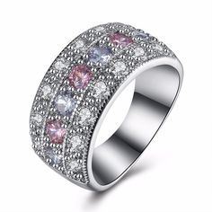 Queenwish New Wedding Engagement Band Two/Four Color Cubic Zirconia Ring For Women Fashion Ring Set