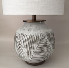 Mt Washington Pottery ceramic lamp with linen shade.