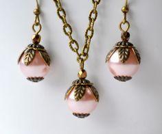 Pink Beaded Bridesmaid gift jewelry set of by LaurinWedding, $15.00