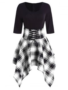 fashion dresses Women Lace Up Plaid Asymmetrical Dress O-Neck Description Occasion: Daily Style: Casual Material: Cotton,Polyester Silhouette: Asymmetrical Dresses Length: Knee-L Teen Fashion Outfits, Edgy Outfits, Cute Casual Outfits, Mode Outfits, Cute Fashion, Girl Outfits, Womens Fashion, Dress Casual, Fashion Site