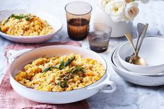 Often served with pasta, burnt butter and crisp sage also complement this risotto beautifully.