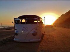 beach sunset & buses
