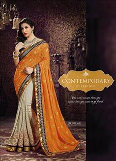 orange saree  only at xeroshop.com