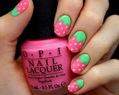 For little girls nails.Pink Strawberry Nails--I want I want I want! Nail Art Designs, Girls Nail Designs, Nails For Kids, Girls Nails, Nail Lacquer, Nail Polish, Little Girl Nails, Summery Nails, Uñas Diy