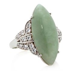 Jade of Yesteryear Marquise Green Jade and CZ Sterling Silver Ring at HSN.com.