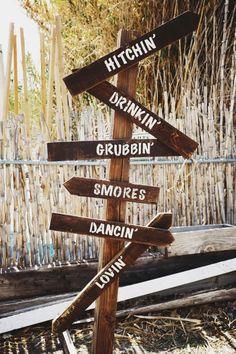 Rustic wedding outdoor direction sign